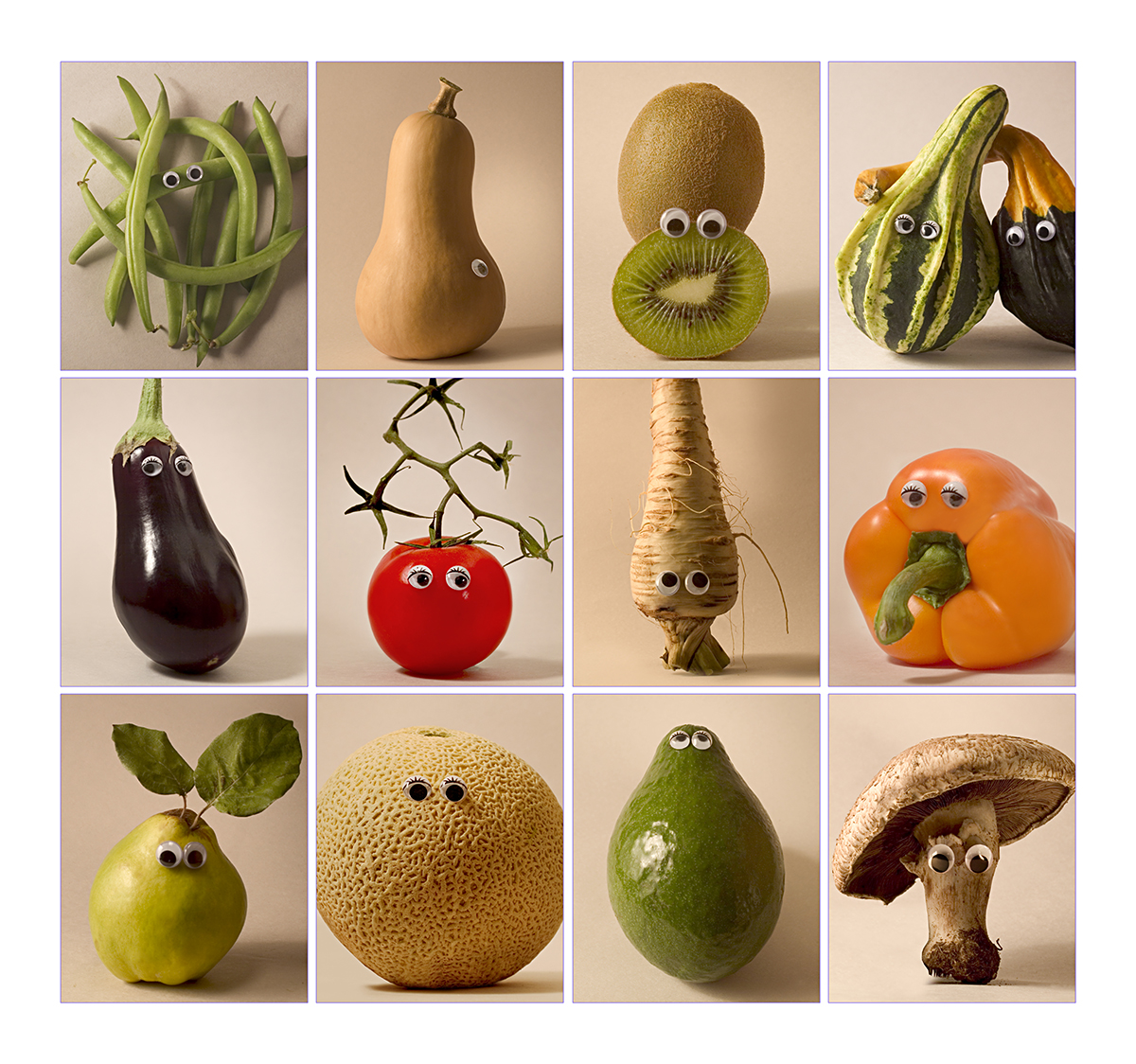 fruits & vegetables with toy eyes