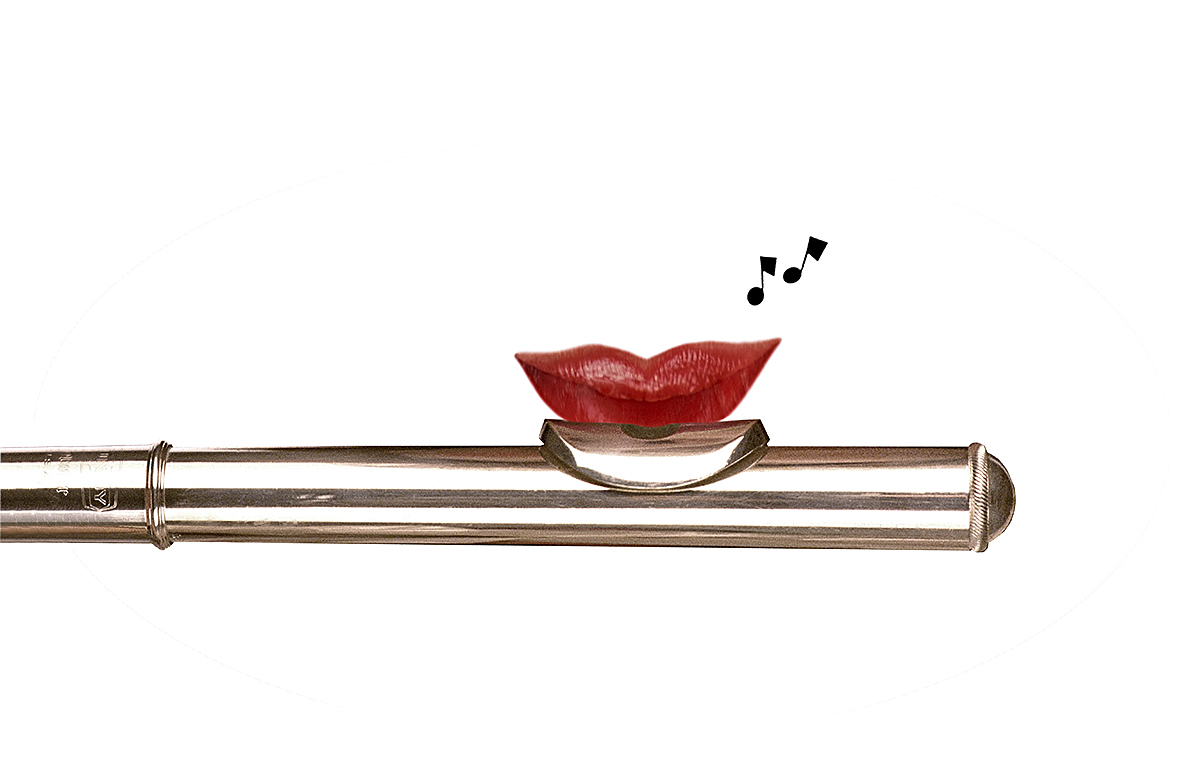 Red Lips with Flute